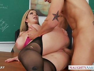 Big tits, Blowjob, Hardcore, Lingerie, Milf, Pornstar, Teacher, Tits,