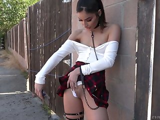 Explicit looking chick helter-skelter short skirt Emily Willis wanna get lubed holes nailed