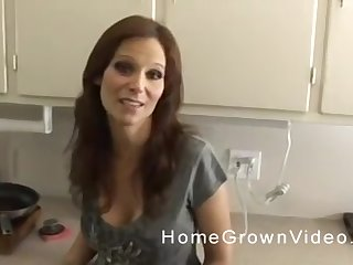Mature smart haired brunette MILF blows cock in POV