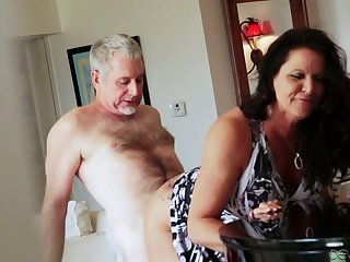 Bootyful and big tittied cougar Leylani Wood goes wild on a permanent dick and gets doggy fucked