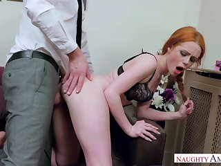 Crimson haired tear up female, Ella Hughes got wedged in the air a jumbo manmeat, until she came
