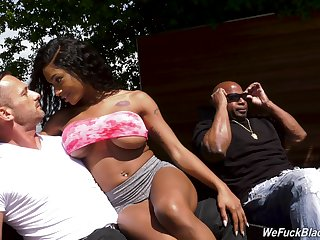 Busty inked ebony infant Sarai Hussy about an interacial MMF trine