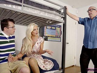 Slutty stepmom Brittany Andrews helps her stepson not far from cum several times