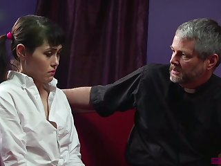 Fully stuck pigtailed Audrey Noir gets poked from behind by older mistreat