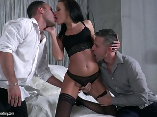 Two cocky dudes fuck deep throat wet pussy and crazy anus for Lexi Layo