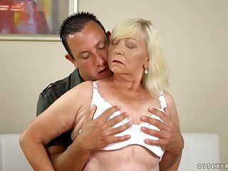 Beamy blonde mature whore Irene gives such a sensual blowjob