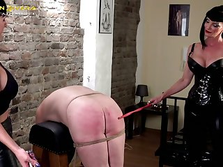 Perverted hot old bag Carmen Rivera loves treating coxcomb like shit