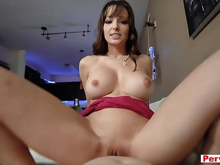 My busty MILF stepfather uses me a replacement cock