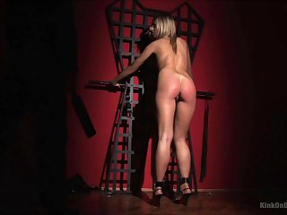 Blonde unsubtle gets undressed and takes rough excommunication on her posterior