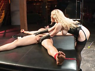 Stunning bitch in corset Aiden Starr bangs tied on every side and crucified man on the table