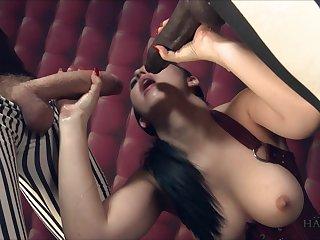 Busty woman feels amazing holding yoke heavy duty cocks