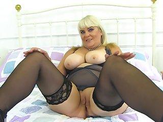 Granny Christina Shows Her Soiled Vagina