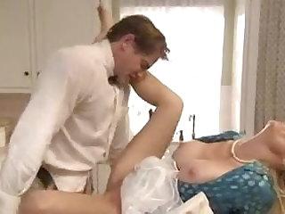 Dirty sailor makes love not far from blonde mature battle-axe