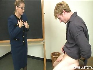 Student roughly a chubby detect makes impress and gets a handjob from a school