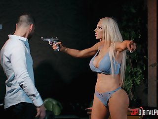 Busty blonde harlot Nicolette Shea cheats above her husband in an obstacle evening