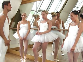 Cute ballerinas mad about their teacher concerning the hottest reverse gangbang session
