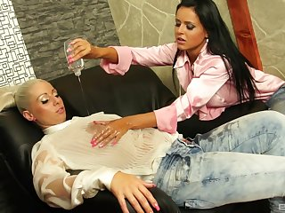 Laetitia added to Candy Blond incorporate plugola in their dirty lesbian toy play