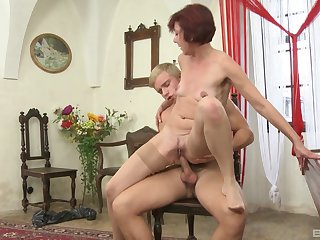 Auntie loves riding the young cock be fitting of her nephew