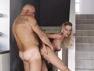 Hung daddy and old lean granny Finally convenient home, finally