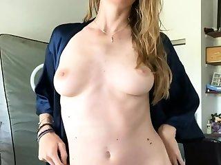 European blonde simply masturbating