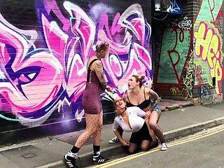 Public bdsm and alfresco lesbian domination
