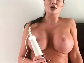Sexy busty subfusc toys the brush wet twat