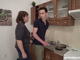 Sex-starved old play get under one's host bangs young tenant right in get under one's kitchen