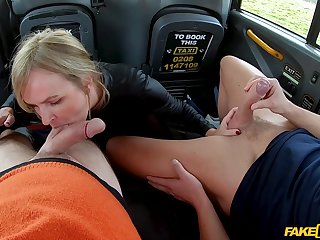 Hot back seat MMF threesome for saleable MILF Summer Rose