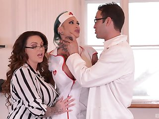 Female doctor coupled with her slutty nurse, huge cock parceling out program