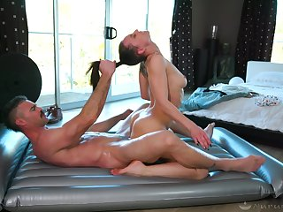 Lovely rub-down session leads hot babe nearby insane cock riding fantasy