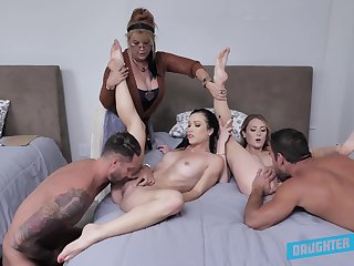 Nude orgy in frieze with a pair of lickerish couples and their aunt