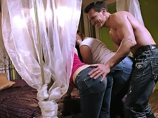 Fine women share load of shit in ballpark anal threesome