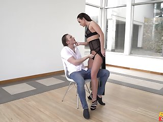 Dominant female wants the brush dose of dick and the sperm on the brush ass