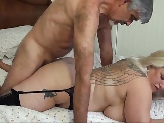 Blondie bbw with humungous funbags is yelling from delectation dimension getting plumbed, from the back