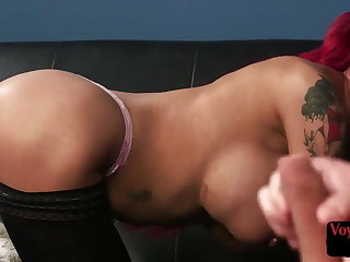 Busty voyeur babe shows spoils for tugging sub
