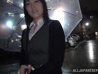 Blindfolded Japanese cutie Satomi Nomiya gets pleasured in make an issue of van
